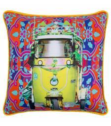 Lemon Yellow Taxi Glaze Cotton Cushion Cover 16x16 Inches