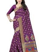 Buy Pink woven art silk saree with blouse