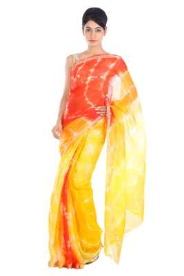 Yellow printed pure silk saree with blouse