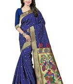 Buy Navy blue woven art silk saree with blouse