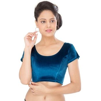 Firozi velvet plain stitched blouse