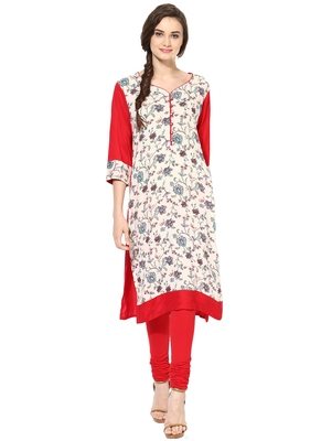 Red printed rayon stitched kurti