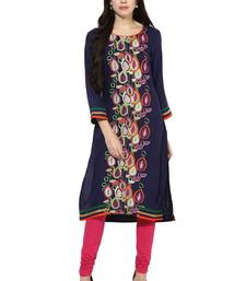 Dark blue printed rayon stitched kurti