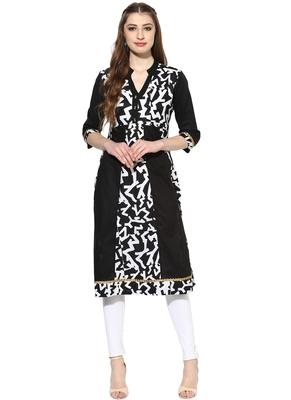 Black printed polyester stitched kurti