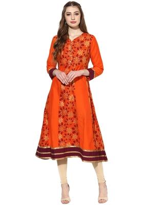 Orange printed polyester stitched kurti