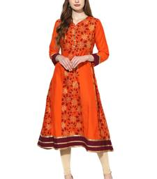 Orange printed polyester stitched kurti