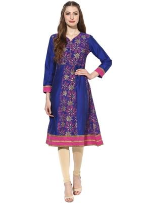 Royal blue printed polyester stitched kurti