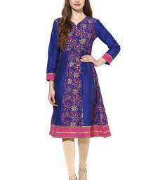 Royal blue printed polyester stitched kurti