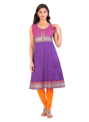 Violet printed cotton stitched kurti