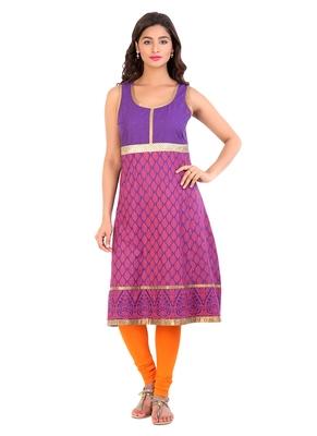 Violet printed cotton stitched kurti