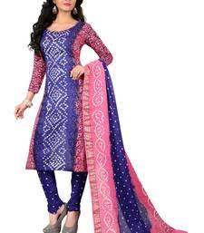 Buy Blue hand woven cotton salwar with dupatta multicolor-salwar-kameez online