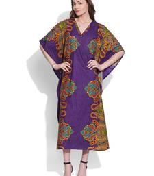 Buy Purple cotton printed kaftan kaftan online