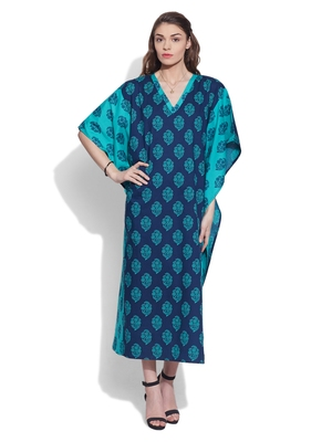 Blue cotton printed kaftan