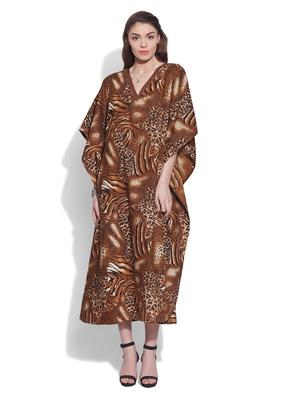 Brown cotton printed kaftan
