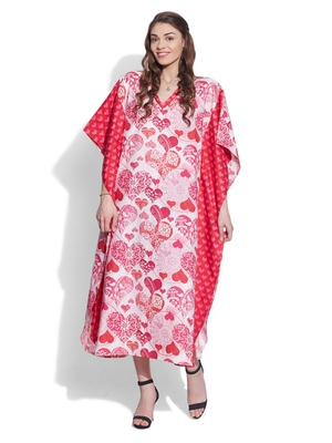 Pink cotton printed kaftan