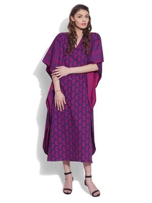 Purple wine cotton printed kaftan