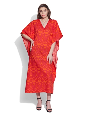 Tomato cotton printed kaftan