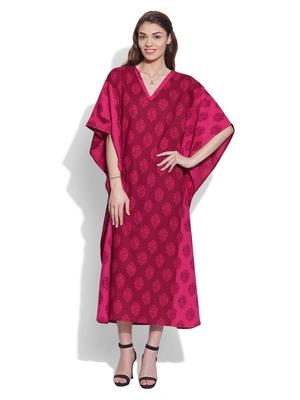 Raspberry cotton printed kaftan