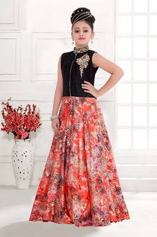c490a653a MultiColor Reddis Digital Floral Print Heavy Satin Silk Partywear ReadyMade Gown  Dress For Girls