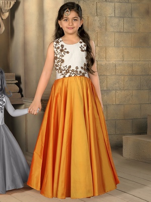 7ce06cee3 White And Orange Embroidery heavy Banglori Satin Silk Designer ...