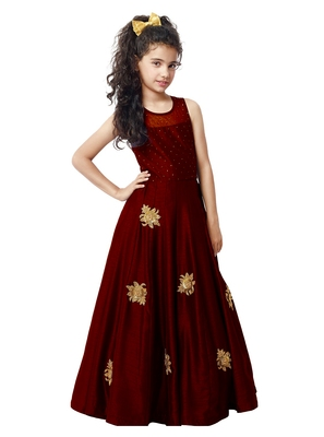 Maroon Sequance Embroidery Banglori silk Heavy Latest New Designer Festive wear ReadyMade Gown Dress For Girls