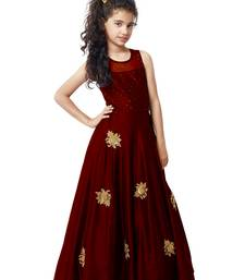 Buy Maroon Sequance Embroidery Banglori silk Heavy Latest New Designer Festive wear ReadyMade Gown Dress For Girls indian-dress online