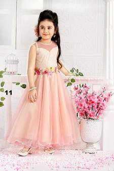2751d3bcf09 Peach And Pink Fancy ReadyMade Flower Satin Silk Birthday Special Flair  Readyamade Gown Dress For Girls