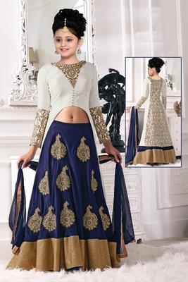 Blue N White Zari Embroidery Latest New Arrival Banglori silk Partywear Readymade Lehenga Choli For Girls
