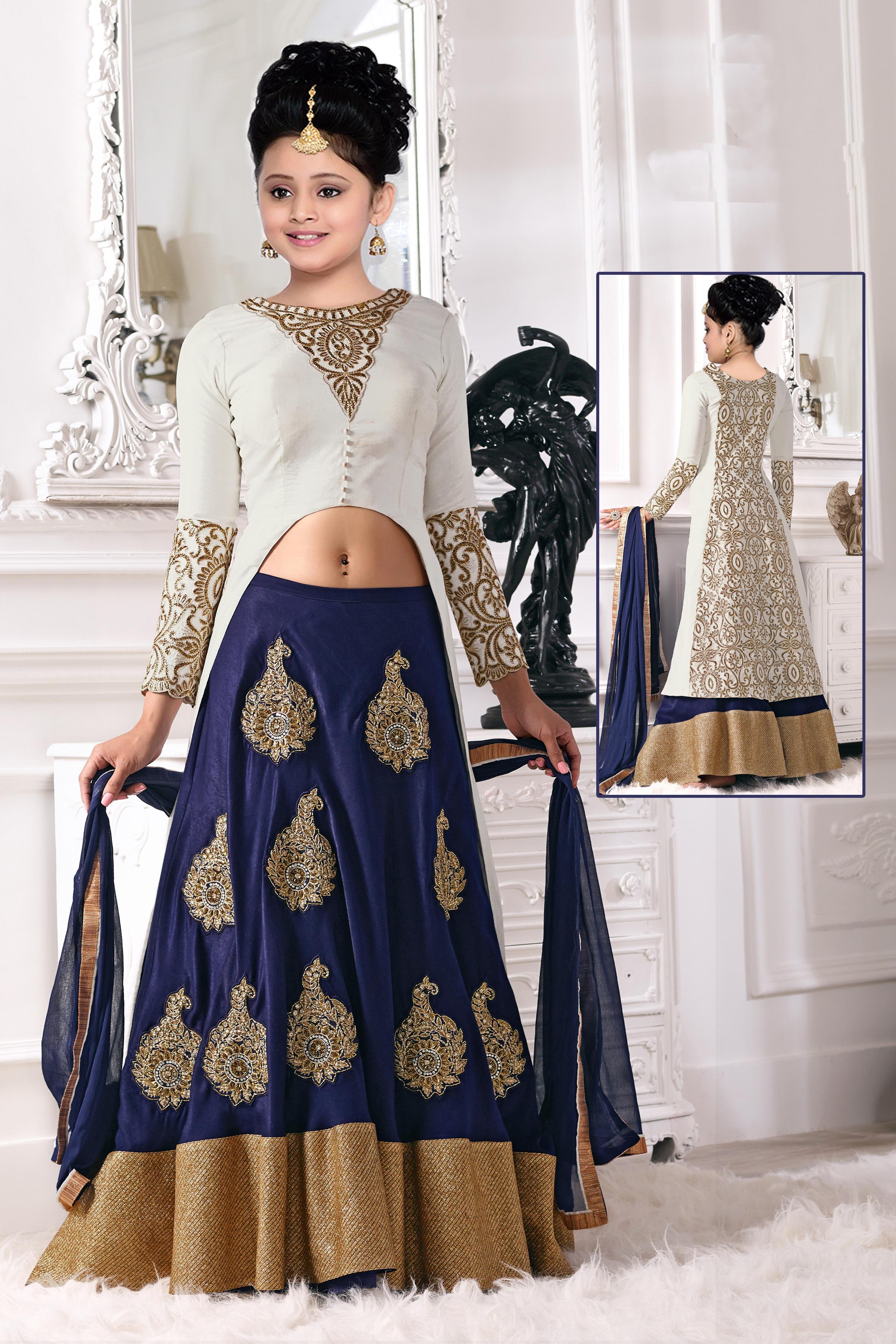 30b065ccf Blue N White Zari Embroidery Latest New Arrival Banglori silk ...