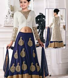Buy Blue N White Zari Embroidery Latest New Arrival Banglori silk Partywear Readymade Lehenga Choli For Girls indian-dress online