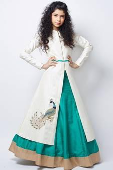 1704f8f5b84966 White N Sea Green heavy Foam Work Embroidery Banglori Silk Ready Made Indo  Western Lehenga For