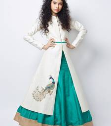 White N Sea Green Heavy Foam Work Embroidery Banglori Silk Ready Made Indo Western Lehenga For Girls