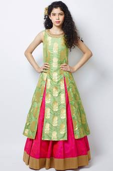 821d05668 Pista N Pink heavy Jequard Silk ReadyMAde partywear lehenga choli For Girls