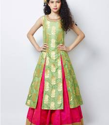 Pista  N Pink heavy Jequard Silk ReadyMAde partywear lehenga choli For Girls