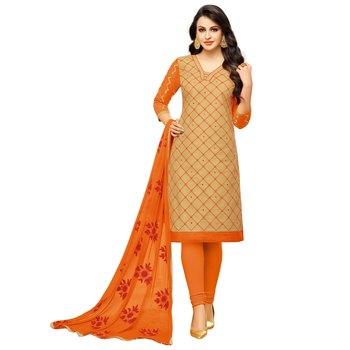 Beige embroidered cotton salwar with dupatta