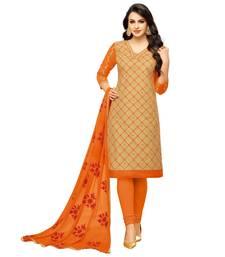 Buy Beige embroidered cotton salwar with dupatta cotton-salwar-kameez online