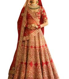 Buy Red embroidered silk unstitched lehenga with dupatta bridal-lehenga online
