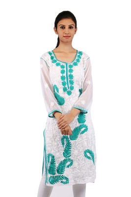 White embroidered georgette stitched kurti