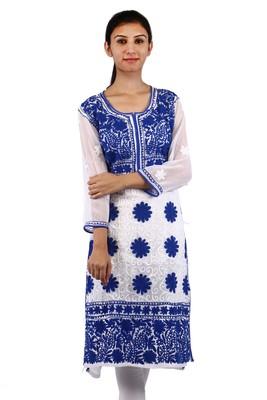 White embroidered georgette stitched kurti