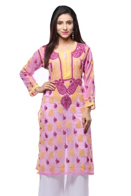 Pink embroidered georgette stitched kurti