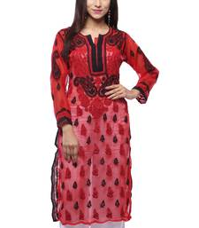 Red embroidered georgette stitched kurti
