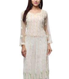 Yellow embroidered georgette stitched kurti