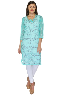 Green embroidered georgette stitched kurti