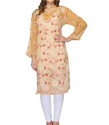 Brown embroidered georgette stitched kurti