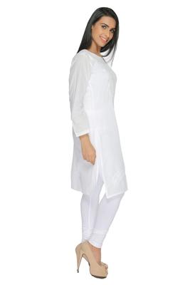 White embroidered cotton stitched kurti