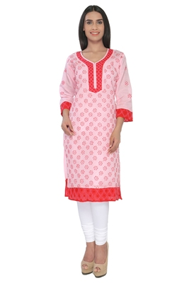 Pink embroidered cotton stitched kurti