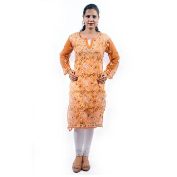 Orange embroidered georgette stitched kurti