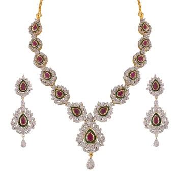 Heena Enamel collection Necklace set >> HJNL149R <<