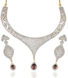 Buy Heena Contemporary collection Maroon stone Necklace set >> HJNL138M << party-jewellery online