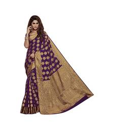 Purple woven art dupion silk saree with blouse